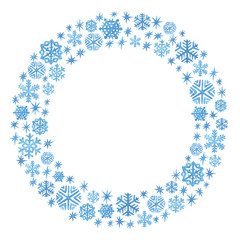 Watercolor snowflakes and sparkles arranged in a circle frame. Christmas and New Year template