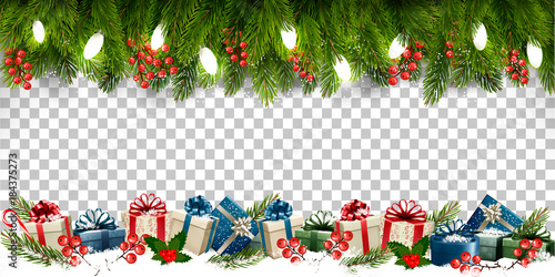 """""""Christmas Holiday Frame With Branches Of Tree And Gift"""