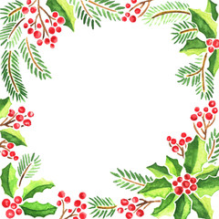 Watercolor Christmas card with evergeen plants. Frame composition of mistletoe, fir tree branches and holly with red berries