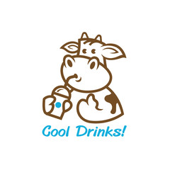 a cut cow with a drinks