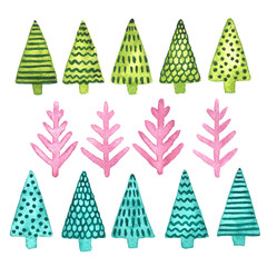 Hand painted watercolor clip art collection of fir trees. Christmas and New Year decoration set