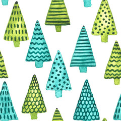 Green and blue watercolor fir trees. Christmas and New Year seamless pattern