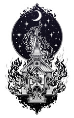 Burning Church with moon flash tattoo dot work art