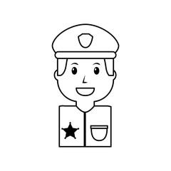 portrait policeman smiling with hat uniform vector illustration outline image