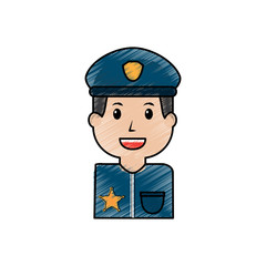 portrait policeman smiling with hat uniform vector illustration drawing image