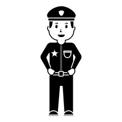 standing policeman smiling uniform and cap vector illustration black image