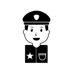 portrait policeman smiling with hat uniform vector illustration black image