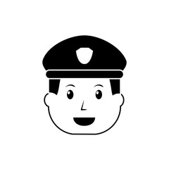 policeman face happy authority character vector illustration black image