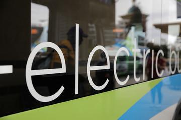 An electric bus is seen in Pomona