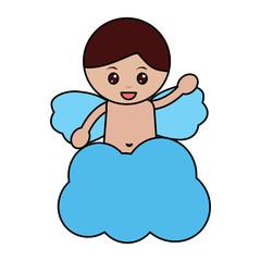 love cute cupid in cloud waving hand vector illustration