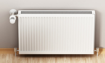 Radiator with adjustable thermostat. 3D illustration
