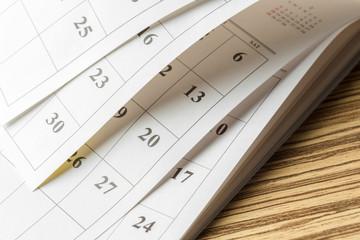 calendar on the table