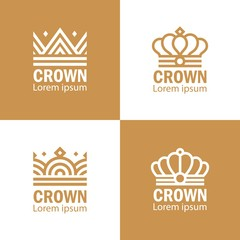 Crown set gold abstract logo design king queen logotype geometric illustration
