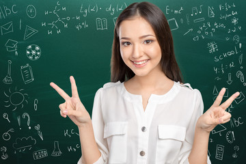 Portrait of a cute young student girl