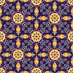 Moroccan tile pattern seamless vector with mosaic ornaments. Portuguese azulejo, mexican talavera, italian majolica, spanish motif. Tiled texture for kitchen tablecloth or bathroom flooring ceramic.