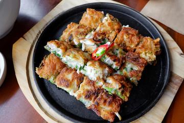 Korea style Pancake, fried food in restaurant