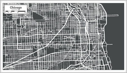 Chicago Illinois USA Map in Retro Style.