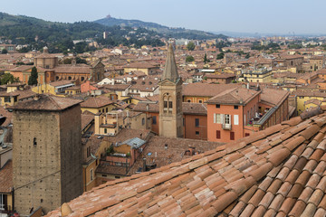 View of the San Paolo Maggiore basilica, the church of San Giovanni Battista dei Celestini and the Torre Galluzzi from the rooftop of  the San Petronio basilica, Bologna, Emilia Romagna, Italy.