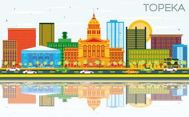 Topeka Kansas USA Skyline with Color Buildings, Blue Sky and Reflections.