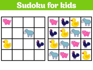 Sudoku game for children with pictures. Logic game for preschool children. rebus for children. Educational game vector illustration