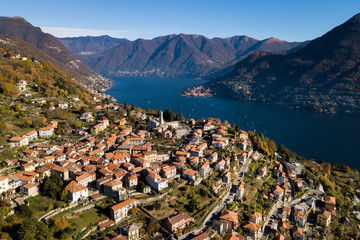 View on the city of Rovenna and Como Lake, Cernobbio, Province of Como, Lombardy, Italy