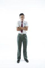 Malaysian secondary school boy  isolated on white background