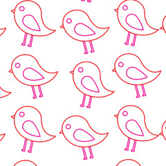 cute bird animal natural seamless pattern vector illustration