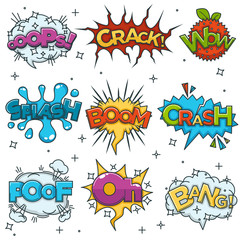 Comic boom, bang wow speech bubble cloud explode cartoon vector icons