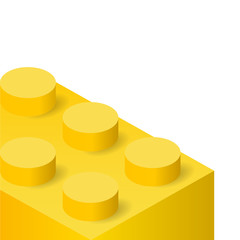 Yellow plastic construction brick toy lego isolated on white background. Vector illustration