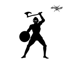 Black silhouette of knight with axe on white background. Icon of medieval soldier