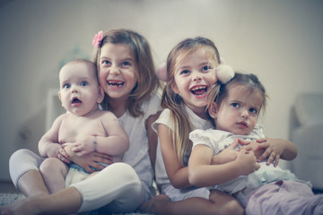 Sisters and brother love. Children.