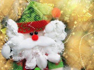 happy santa on christmas background with garland lights