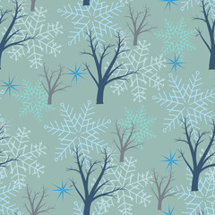 Tree and snowflakes on a gray background