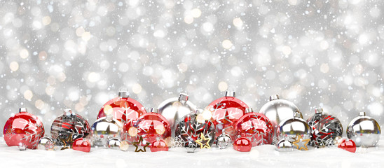 Red and white christmas baubles lined up 3D rendering