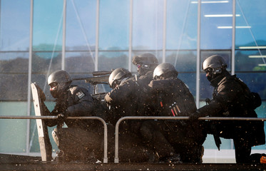 SWAT take part in a security drill at the Olympic Stadium in Pyeongchang