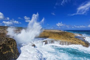 Fototapeten Kuste Caribbean Sea coast at Boka Pistol, Curacao