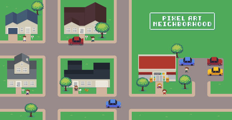 Pixel Art Neighborhood