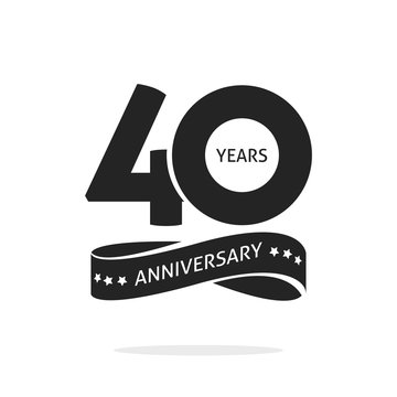 40 years anniversary logo template isolated on white, black and white stamp 40th anniversary icon label with ribbon, forty year birthday seal symbol