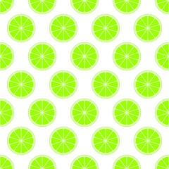 Green citrus background of cut fresh juicy lime rings in row next to each other and alternately below. The concept of healthy fruit eat, diet meal