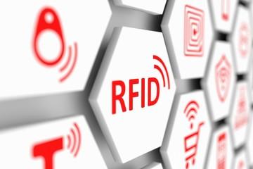 RFID concept cell blurred background 3d illustration