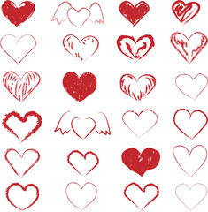 Set of Hand Drawn Hearts in red