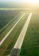 Aerial view of Munich airport in Germany. Airfield.