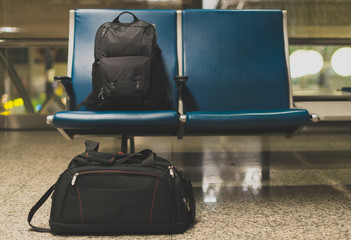 Forgotten travel bags in the airport.