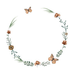 Round frame with flowers, butterflies and twigs. Watercolor hand drawn illustration