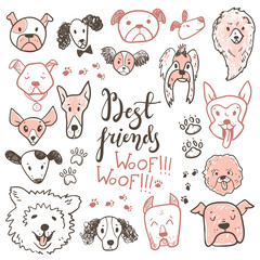 Funny doodle dog icons collection. Hand drawn pet, kid drawn des
