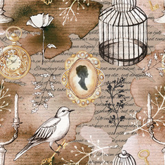 Seamless background pattern with candlestick, bird, twigs, bird's cage, brooch and flowers. Liner graphic and watercolor hand drawn illustration