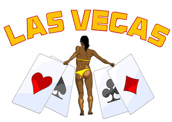 Girl in bikini with playing cards on white background