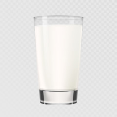 Milk glass cup vector isolated on transparent background. Dairy milk 3D realistic glass mug full of beverage drink for breakfast healthy eating and drinking