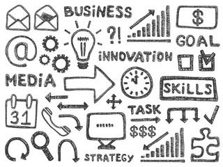 Business doodle pencil signs set management office work