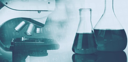 Background with microscope in laboratory